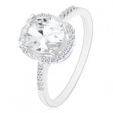 Stříbrný 925 prsten - zásnubní, velký oválný zirkon čiré barvy v kotlíku, čirý lem