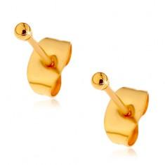 Ocelové náušnice zlaté barvy s puzetovým zapínáním, drobné lesklé kuličky, 2 mm