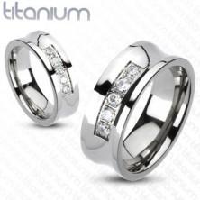 Prsten z titanu ve stříbrné barvě, vyhloubený střed s linií čirých zirkonů, 6 mm