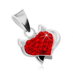 Stříbrný přívěsek 925 - srdce s růžky, černým ocáskem a červenými zirkony