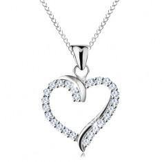 Náhrdelník ze stříbra 925, zirkonový obrys srdce s lesklými liniemi, tenký řetízek