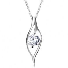 Stříbrný 925 náhrdelník, asymetrický obrys zrnka s blýskavým čirým zirkonem