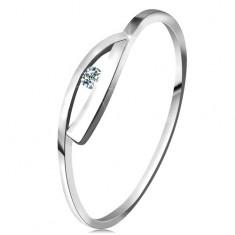 Prsten v bílém zlatě 585 s třpytivým diamantem, lesklá zvlněná ramena