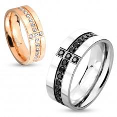 Prsten z chirurgické oceli stříbrné barvy, ozdobné linie z černých zirkonů, 8 mm