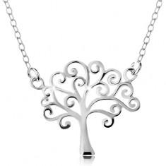 Stříbrný náhrdelník 925, tenký řetízek a přívěsek - lesklý strom života