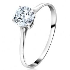 Prsten z bílého 14K zlata - velký kulatý zirkon čiré barvy, úzká ramena