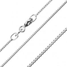Stříbrný řetízek 925, hustě propojené lesklé hranaté články, 1,1 mm