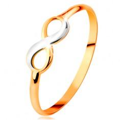 Zlatý prsten 585 - dvoubarevný lesklý symbol nekonečna, úzká hladká ramena
