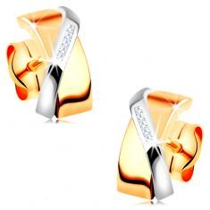 Dvoubarevné náušnice ve 14K zlatě - překrývající se obloučky, čiré zirkonky