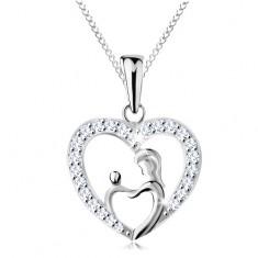 Náhrdelník ze stříbra 925, řetízek a přívěsek - matka s děťátkem v obrysu srdce