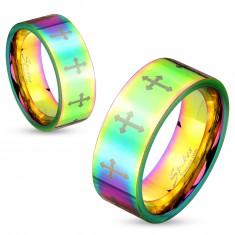 Barevný ocelový prsten s lesklým povrchem a křížky stříbrné barvy, 6 mm