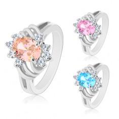Blýskavý prsten stříbrné barvy, velký barevný ovál, tenké oblouky a čiré zirkony