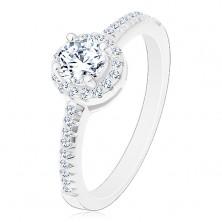 Zásnubní prsten - stříbro 925, zářivý kulatý zirkon čiré barvy ve třpytivém kruhu