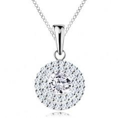 Stříbrný náhrdelník 925 - přívěsek a řetízek, kulatý čirý zirkon ve dvojité kontuře