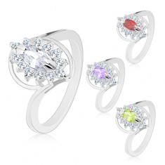 Prsten s lesklými rameny stříbrné barvy, broušený zrnkovitý zirkon, čirý lem