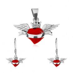 Sada náušnic a přívěsku ze stříbra 925, červené okřídlené srdce, stuha, korunka