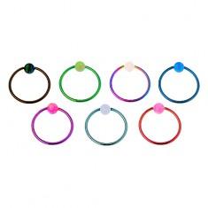 Piercing z chirurgické oceli, lesklý barevný kroužek, duhová kulička