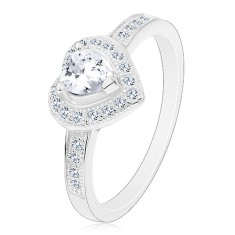 Zásnubní prsten - stříbro 925, čiré srdíčko, třpytivá kontura a ramena