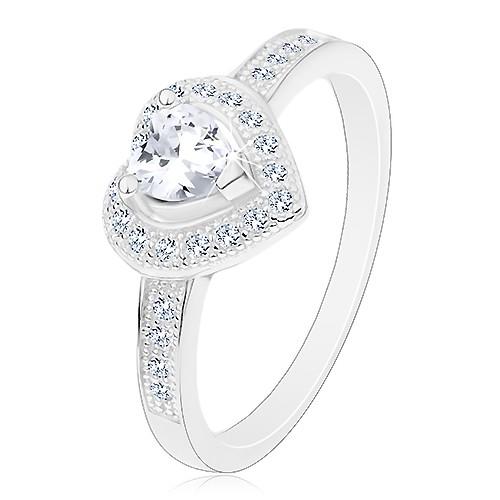 Zásnubní prsten - stříbro 925, čiré srdíčko, třpytivá kontura a ramena - Velikost: 66