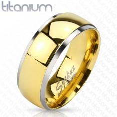 Titanový prsten s lesklým středem ve zlatém odstínu a s okraji stříbrné barvy, 6 mm