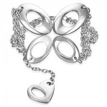 Řetízkový ocelový náramek - motýl a srdce