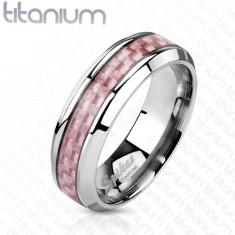 Titanový prsten stříbrné barvy, středový pás z růžových vláken, 6 mm