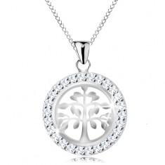 Stříbrný 925 náhrdelník, přívěsek - lesklý strom života ve třpytivém kruhu