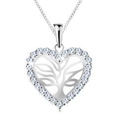 Stříbrný náhrdelník 925, strom života ve třpytivém srdíčku, řetízek