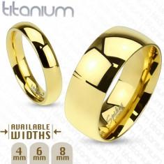 Lesklý prsten z titanu zlaté barvy s hladkým vypouklým povrchem, 6 mm