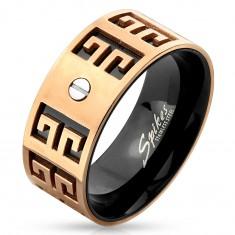 Ocelový prsten - měděno-černá kombinace, vyryté symboly, malý šroubek, 9 mm