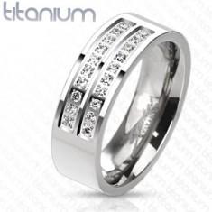 Prsten z titanu ve stříbrném odstínu s liniemi čirých zirkonů, 7 mm