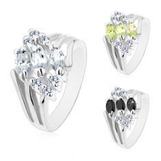 Prsten ve stříbrném odstínu, zdobený čirými zirkony a barevnými zrnky M08.07