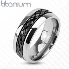 Lesklý titanový prsten stříbrné barvy, příčné zářezy na černém pásu, 8 mm