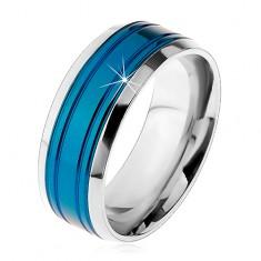 Prsten z chirurgické oceli, modrý pás, lemy stříbrné barvy, zářezy, 8 mm