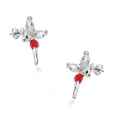 Puzetové náušnice - stříbro 925,  víla s červenou sukýnkou a zirkony na křídlech