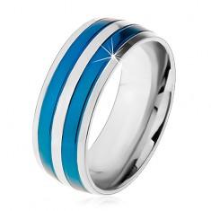 Dvoubarevný ocelový prsten, tenké pruhy v modrém a stříbrném odstínu, zářezy, 8 mm