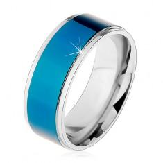 Ocelový prsten, tmavomodrý pruh, lemy stříbrné barvy, vysoký lesk, 8 mm
