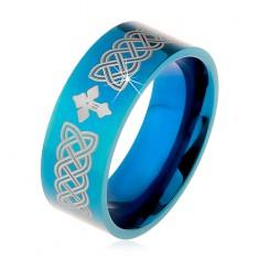Lesklý prsten z oceli 316L, modrá barva, keltské symboly a kříž, 8 mm