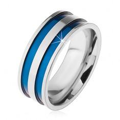 Ocelový prsten ve stříbrném odstínu, tenké vyhloubené pásy modré barvy, 8 mm