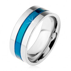 Prsten z oceli 316L, modrý středový pás, okraje stříbrné barvy, zářezy, 8 mm