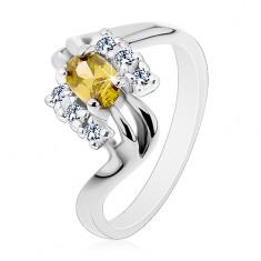 Prsten stříbrné barvy, rozdvojené linie ramen, olivově zelený broušený ovál