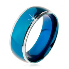 Prsten z chirurgické oceli, zaoblený modrý pruh, lemy stříbrné barvy, 8 mm