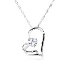 Náhrdelník ze stříbra 925, spirálovitý řetízek, asymetrické srdce, zirkon