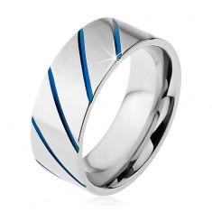 Prsten z oceli 316L stříbrné barvy, modré diagonální pruhy, 8 mm