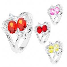 Prsten s rozdělenými rameny, dva barevné ovály, čiré zirkonky