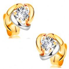 Náušnice ze žlutého 14K zlata - dvoubarevné oblouky lemující čirý zirkon