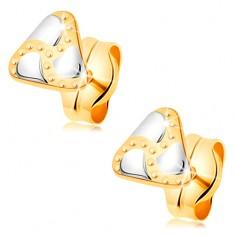Puzetové náušnice, kombinované 14K zlato - trojúhelník, slzičky a gravírované tečky