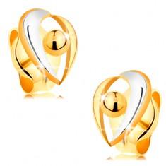 Zlaté puzetové náušnice 585 - obloučky v bílém a žlutém zlatě, kulička