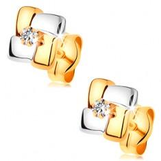 Zlaté náušnice 585 - čtverec z dvoubarevných pásů, kulatý čirý zirkonek uprostřed