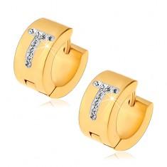 Kruhové náušnice z chirurgické oceli zlaté barvy, písmeno T s čirými zirkony